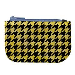 Houndstooth1 Black Marble & Yellow Watercolor Large Coin Purse by trendistuff