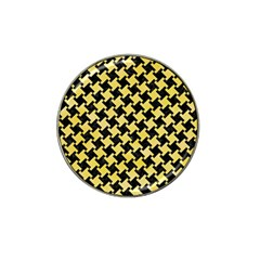 Houndstooth2 Black Marble & Yellow Watercolor Hat Clip Ball Marker (4 Pack) by trendistuff