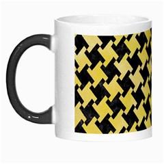 Houndstooth2 Black Marble & Yellow Watercolor Morph Mugs by trendistuff