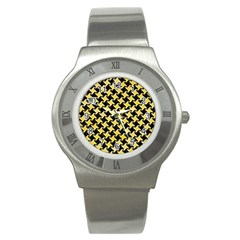 Houndstooth2 Black Marble & Yellow Watercolor Stainless Steel Watch by trendistuff