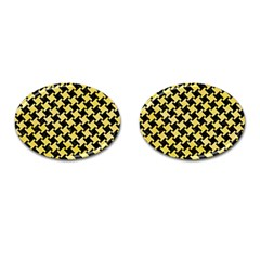 Houndstooth2 Black Marble & Yellow Watercolor Cufflinks (oval) by trendistuff