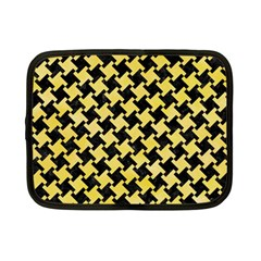 Houndstooth2 Black Marble & Yellow Watercolor Netbook Case (small)  by trendistuff