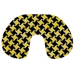 Houndstooth2 Black Marble & Yellow Watercolor Travel Neck Pillows by trendistuff