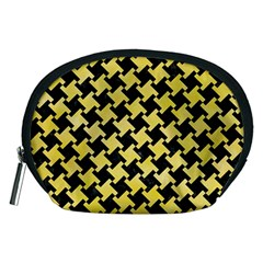 Houndstooth2 Black Marble & Yellow Watercolor Accessory Pouches (medium)  by trendistuff