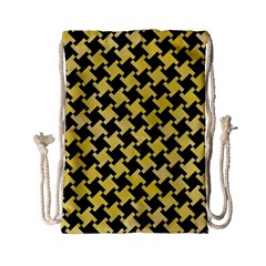 Houndstooth2 Black Marble & Yellow Watercolor Drawstring Bag (small) by trendistuff