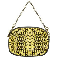 Hexagon1 Black Marble & Yellow Watercolor Chain Purses (one Side)  by trendistuff