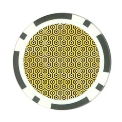 Hexagon1 Black Marble & Yellow Watercolor Poker Chip Card Guard (10 Pack) by trendistuff