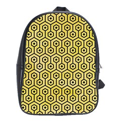 Hexagon1 Black Marble & Yellow Watercolor School Bag (xl)