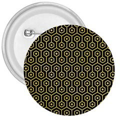 Hexagon1 Black Marble & Yellow Watercolor (r) 3  Buttons by trendistuff