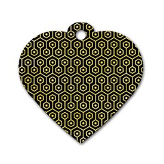 Hexagon1 Black Marble & Yellow Watercolor (r) Dog Tag Heart (one Side) by trendistuff