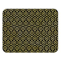 Hexagon1 Black Marble & Yellow Watercolor (r) Double Sided Flano Blanket (large)  by trendistuff