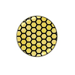 Hexagon2 Black Marble & Yellow Watercolor Hat Clip Ball Marker by trendistuff
