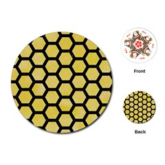 Hexagon2 Black Marble & Yellow Watercolor Playing Cards (round)  by trendistuff