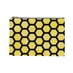Hexagon2 Black Marble & Yellow Watercolor Cosmetic Bag (large)