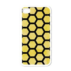 Hexagon2 Black Marble & Yellow Watercolor Apple Iphone 4 Case (white) by trendistuff