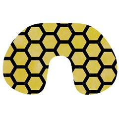 Hexagon2 Black Marble & Yellow Watercolor Travel Neck Pillows by trendistuff