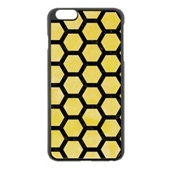 Hexagon2 Black Marble & Yellow Watercolor Apple Iphone 6 Plus/6s Plus Black Enamel Case