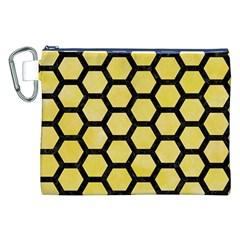 Hexagon2 Black Marble & Yellow Watercolor Canvas Cosmetic Bag (xxl) by trendistuff