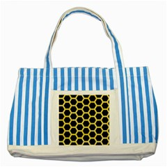 Hexagon2 Black Marble & Yellow Watercolor (r) Striped Blue Tote Bag by trendistuff