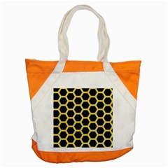 Hexagon2 Black Marble & Yellow Watercolor (r) Accent Tote Bag by trendistuff