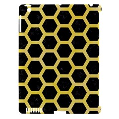 Hexagon2 Black Marble & Yellow Watercolor (r) Apple Ipad 3/4 Hardshell Case (compatible With Smart Cover) by trendistuff