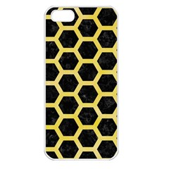 Hexagon2 Black Marble & Yellow Watercolor (r) Apple Iphone 5 Seamless Case (white) by trendistuff
