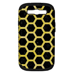 Hexagon2 Black Marble & Yellow Watercolor (r) Samsung Galaxy S Iii Hardshell Case (pc+silicone) by trendistuff