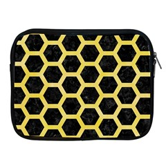 Hexagon2 Black Marble & Yellow Watercolor (r) Apple Ipad 2/3/4 Zipper Cases by trendistuff