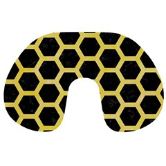 Hexagon2 Black Marble & Yellow Watercolor (r) Travel Neck Pillows by trendistuff