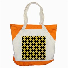 Puzzle1 Black Marble & Yellow Watercolor Accent Tote Bag