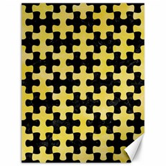 Puzzle1 Black Marble & Yellow Watercolor Canvas 12  X 16   by trendistuff