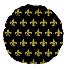 Royal1 Black Marble & Yellow Watercolor Large 18  Premium Flano Round Cushions by trendistuff