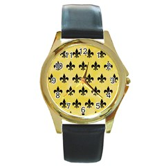 Royal1 Black Marble & Yellow Watercolor (r) Round Gold Metal Watch by trendistuff
