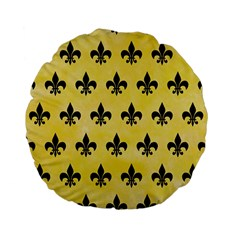 Royal1 Black Marble & Yellow Watercolor (r) Standard 15  Premium Flano Round Cushions by trendistuff