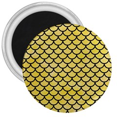 Scales1 Black Marble & Yellow Watercolor 3  Magnets