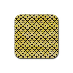 Scales1 Black Marble & Yellow Watercolor Rubber Square Coaster (4 Pack)  by trendistuff