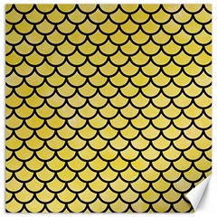 Scales1 Black Marble & Yellow Watercolor Canvas 16  X 16   by trendistuff