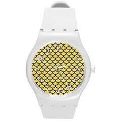 Scales1 Black Marble & Yellow Watercolor Round Plastic Sport Watch (m) by trendistuff
