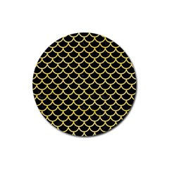 Scales1 Black Marble & Yellow Watercolor (r) Rubber Round Coaster (4 Pack)  by trendistuff