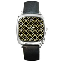 Scales1 Black Marble & Yellow Watercolor (r) Square Metal Watch by trendistuff
