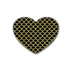 Scales1 Black Marble & Yellow Watercolor (r) Heart Coaster (4 Pack)