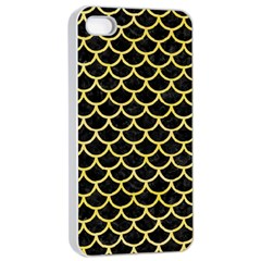 Scales1 Black Marble & Yellow Watercolor (r) Apple Iphone 4/4s Seamless Case (white) by trendistuff