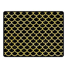 Scales1 Black Marble & Yellow Watercolor (r) Double Sided Fleece Blanket (small)  by trendistuff