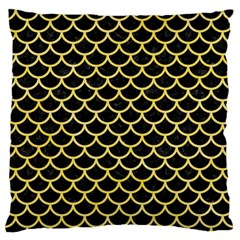 Scales1 Black Marble & Yellow Watercolor (r) Large Flano Cushion Case (two Sides) by trendistuff