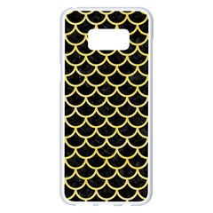 Scales1 Black Marble & Yellow Watercolor (r) Samsung Galaxy S8 Plus White Seamless Case by trendistuff