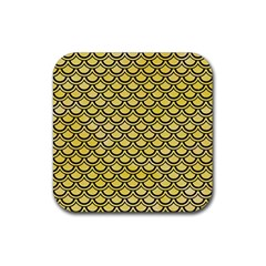 Scales2 Black Marble & Yellow Watercolor Rubber Square Coaster (4 Pack)  by trendistuff