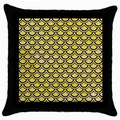 Scales2 Black Marble & Yellow Watercolor Throw Pillow Case (black) by trendistuff