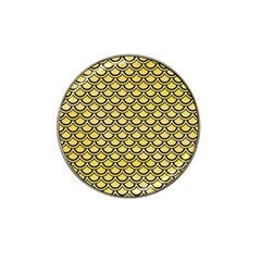 Scales2 Black Marble & Yellow Watercolor Hat Clip Ball Marker by trendistuff
