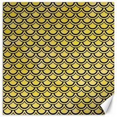 Scales2 Black Marble & Yellow Watercolor Canvas 20  X 20