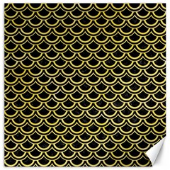 Scales2 Black Marble & Yellow Watercolor (r) Canvas 16  X 16   by trendistuff